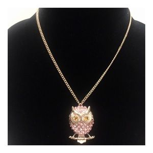 Betsey Johnson Rose Gold Pink Owl Necklace